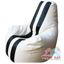 Живое кресло-мешок Спортинг экокожа с полосками белое