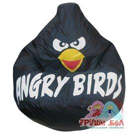 Живое кресло-мешок Груша Черная птичка оксфорд