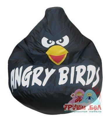 Живое кресло-мешок Груша Черная птичка оксфорд (80 x 120 см)