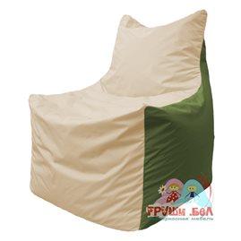 Живое кресло-мешок Фокс Ф 21-135 (слоновая кость - тёмно-оливковый)