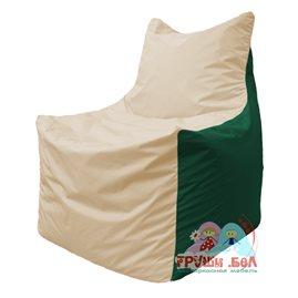 Живое кресло-мешок Фокс Ф 21-137 (слоновая кость - тёмно-зелёный)