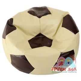 Живое кресло-мешок Мяч экокожа (100х100 см) кремово-коричневый