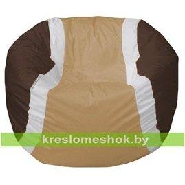 Живое кресло-мешок Мяч теннисный бежево-шоколадный